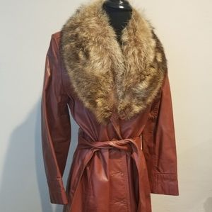 Vintage 70s Leather & Fur Trench Coat